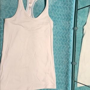 Ivivva white fitted tank with blue stitching